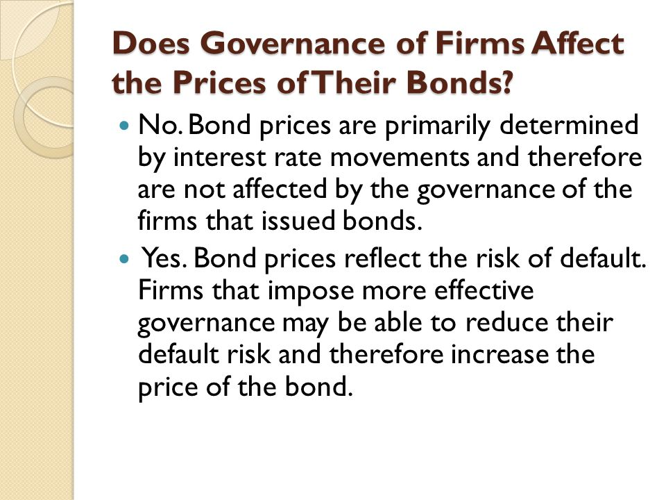 Does Governance of Firms Affect the Prices of Their Bonds
