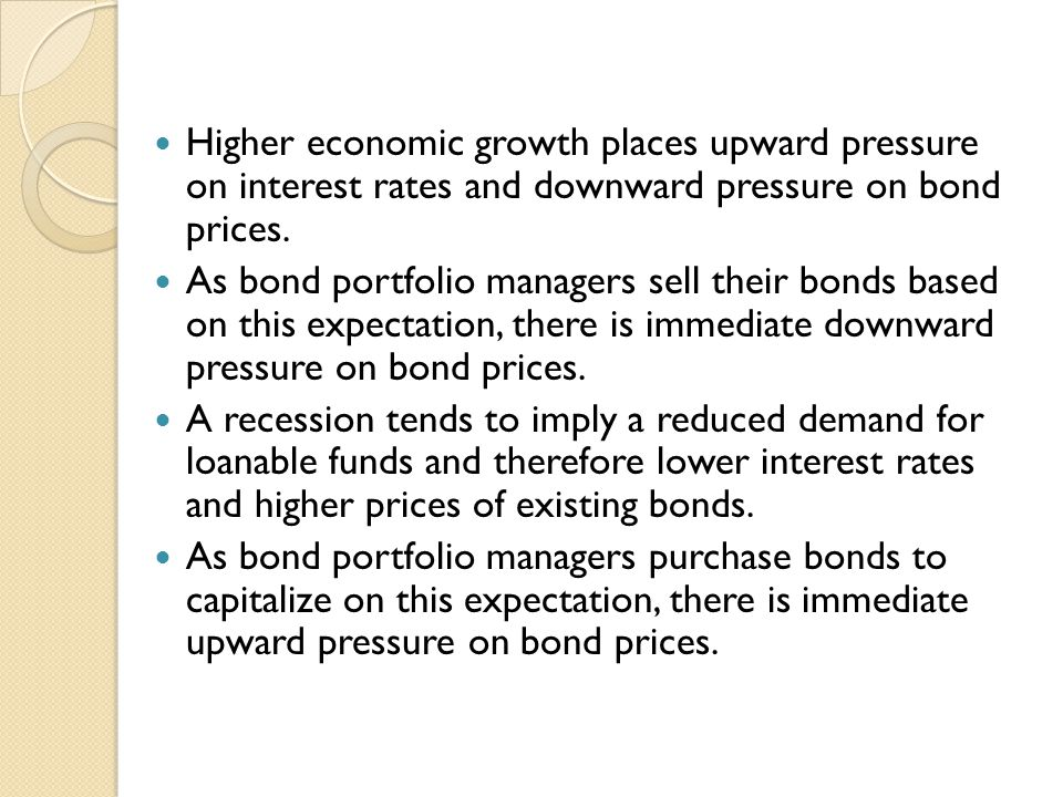 Higher economic growth places upward pressure on interest rates and downward pressure on bond prices.