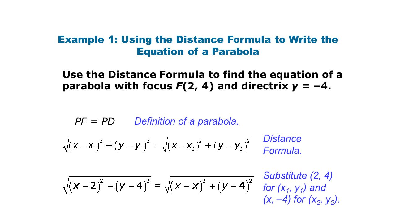 Example 1: Using the Distance Formula to Write the Equation of a Parabola