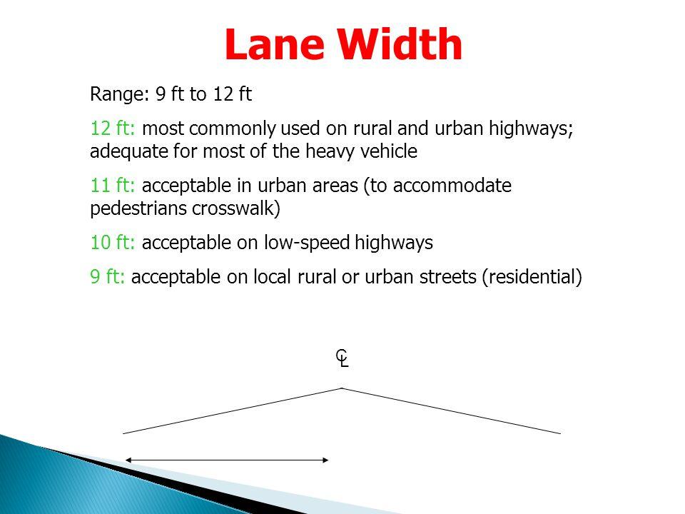 Lane Width Range: 9 ft to 12 ft
