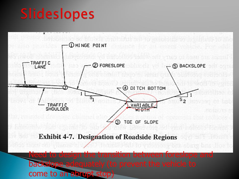 Slideslopes Need to design the transition between foreslope and backslope adequately (to prevent the vehicle to come to an abrupt stop)