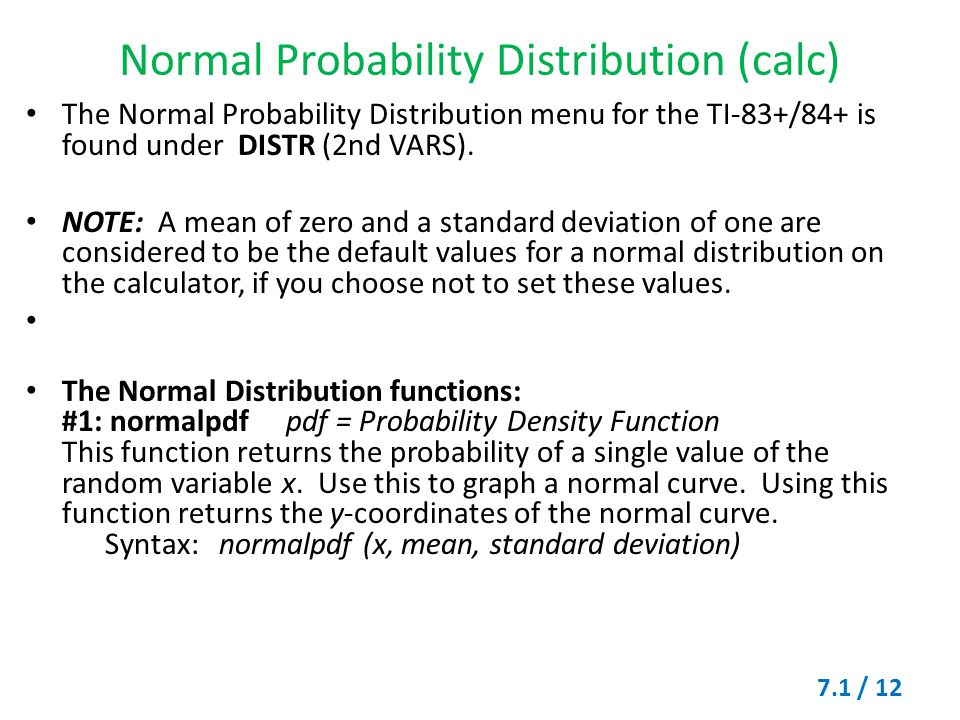 Normal Probability Distribution (calc)
