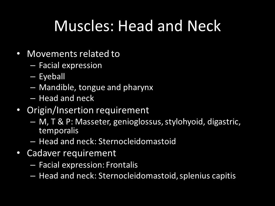 Muscles: Head and Neck Movements related to