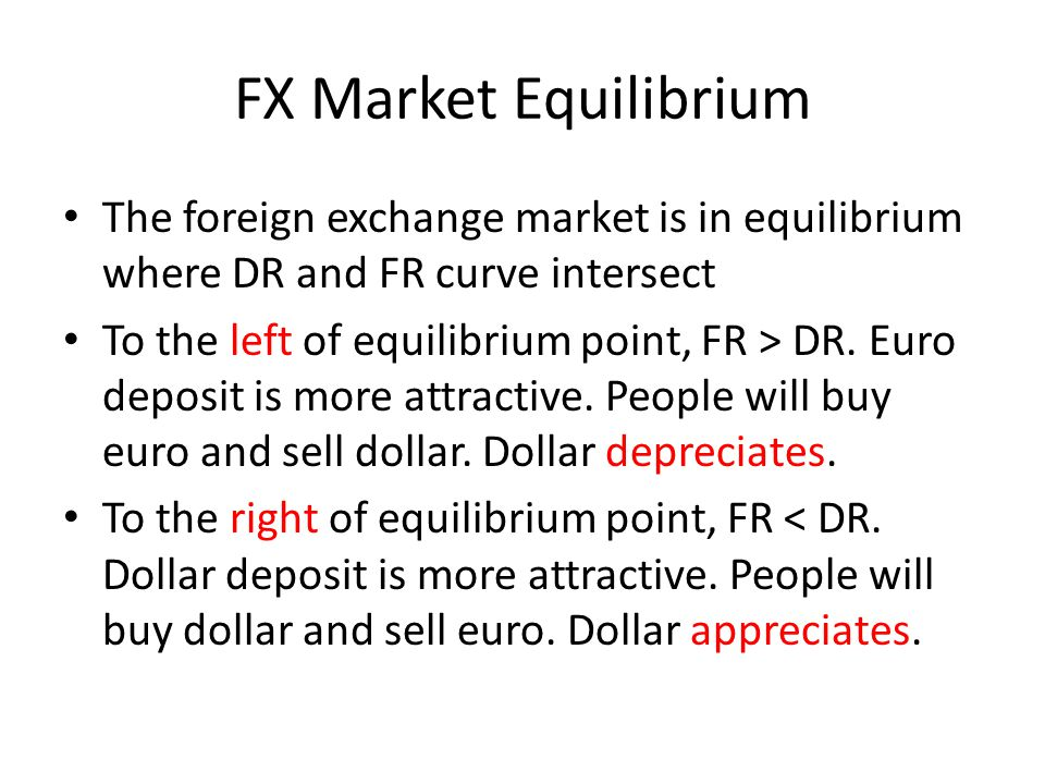 FX Market Equilibrium The foreign exchange market is in equilibrium where DR and FR curve intersect.