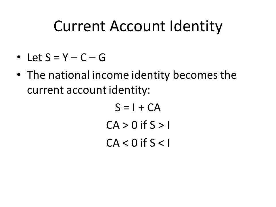 Current Account Identity