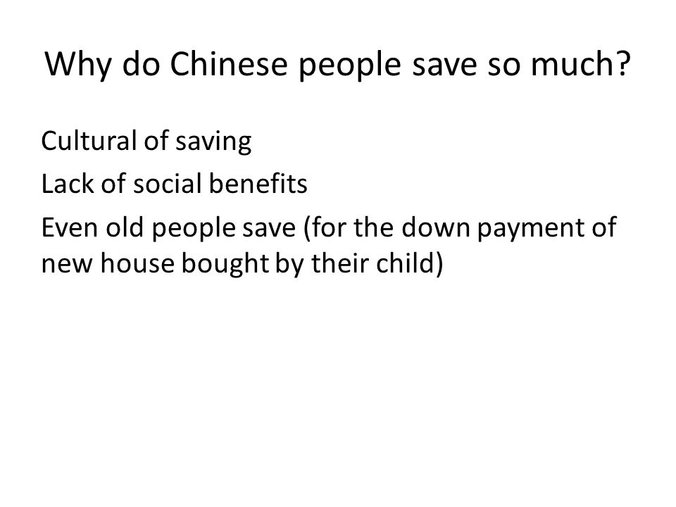 Why do Chinese people save so much