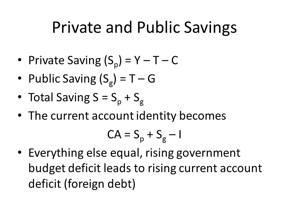 Private and Public Savings