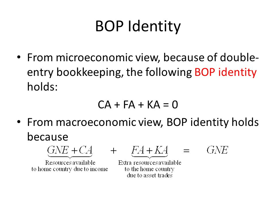 BOP Identity From microeconomic view, because of double-entry bookkeeping, the following BOP identity holds: