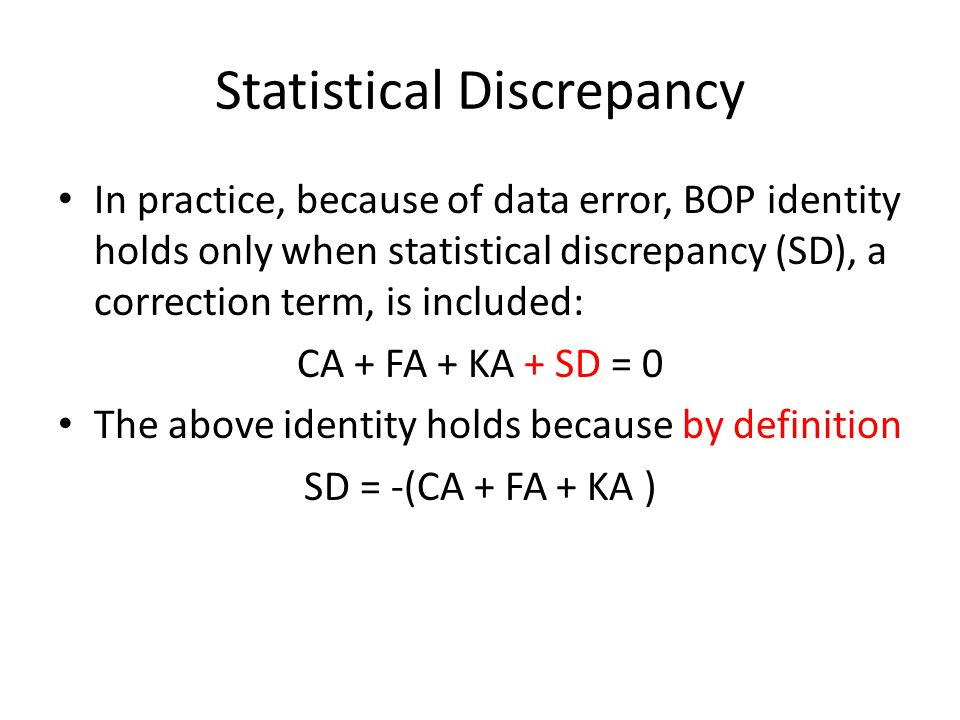 Statistical Discrepancy
