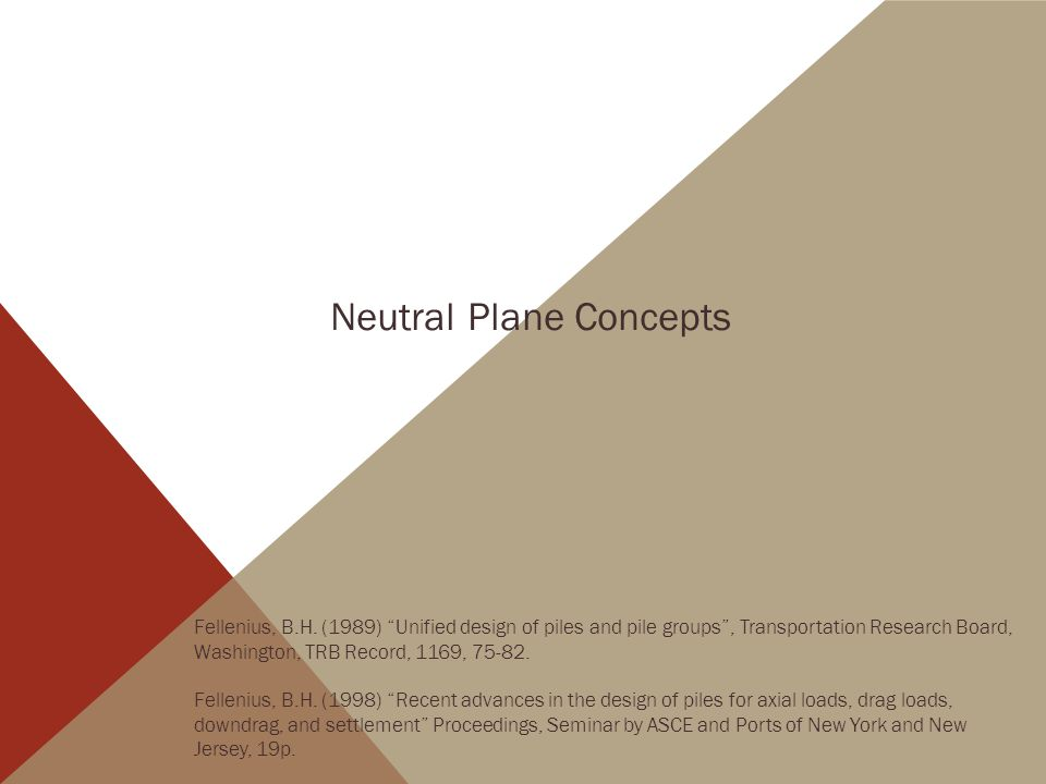 Neutral Plane Concepts