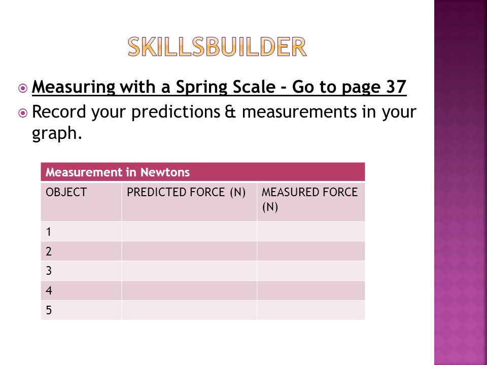 SKILLSBUILDER Measuring with a Spring Scale - Go to page 37