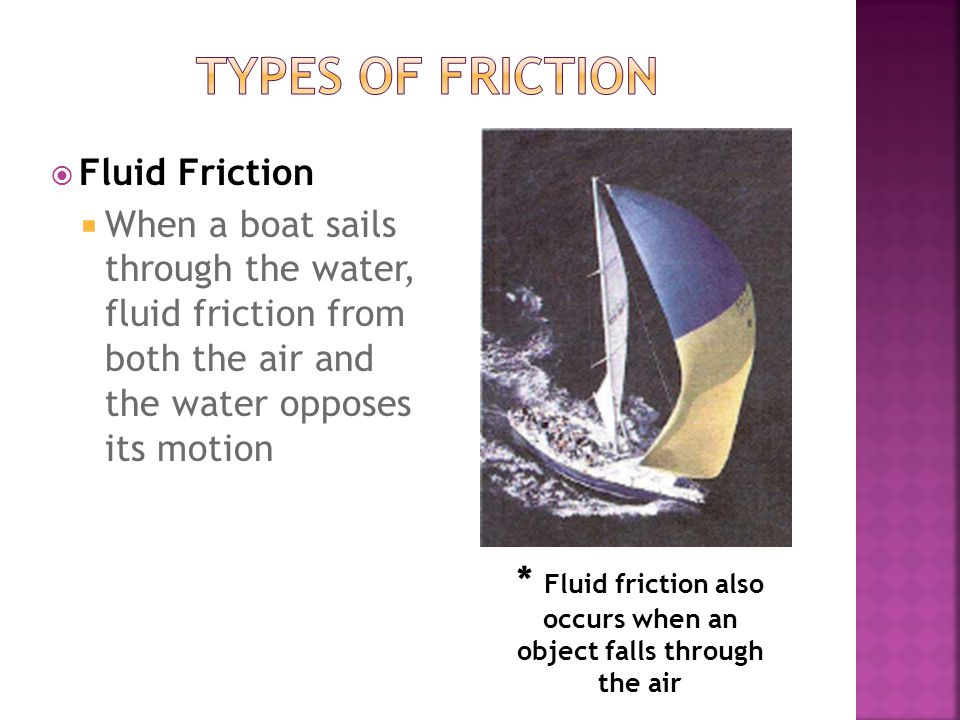* Fluid friction also occurs when an object falls through the air