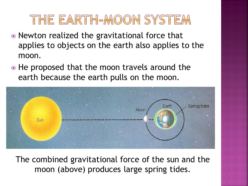 The Earth-Moon System Newton realized the gravitational force that applies to objects on the earth also applies to the moon.