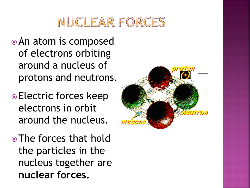 Nuclear Forces An atom is composed of electrons orbiting around a nucleus of protons and neutrons.