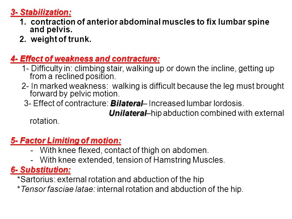 3- Stabilization: 1. contraction of anterior abdominal muscles to fix lumbar spine and pelvis. 2. weight of trunk.
