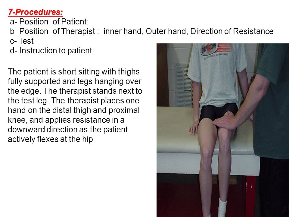 7-Procedures: a- Position of Patient: b- Position of Therapist : inner hand, Outer hand, Direction of Resistance.