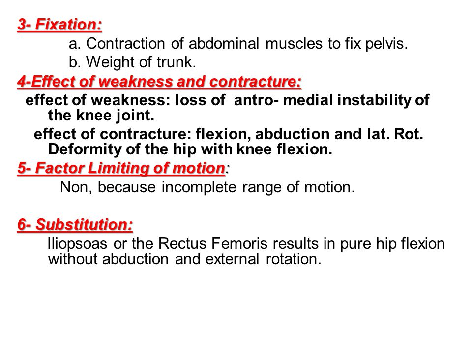 3- Fixation: a. Contraction of abdominal muscles to fix pelvis. b. Weight of trunk. 4-Effect of weakness and contracture: