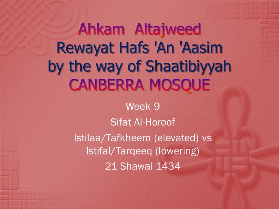 Istilaa/Tafkheem (elevated) vs Istifal/Tarqeeq (lowering)