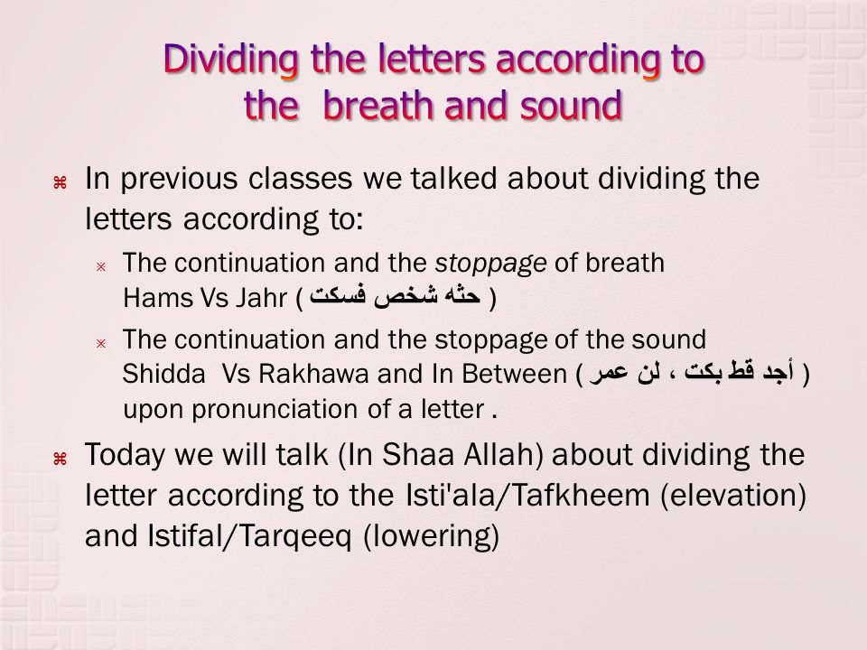 Dividing the letters according to the breath and sound