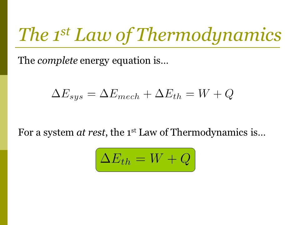 The 1st Law of Thermodynamics