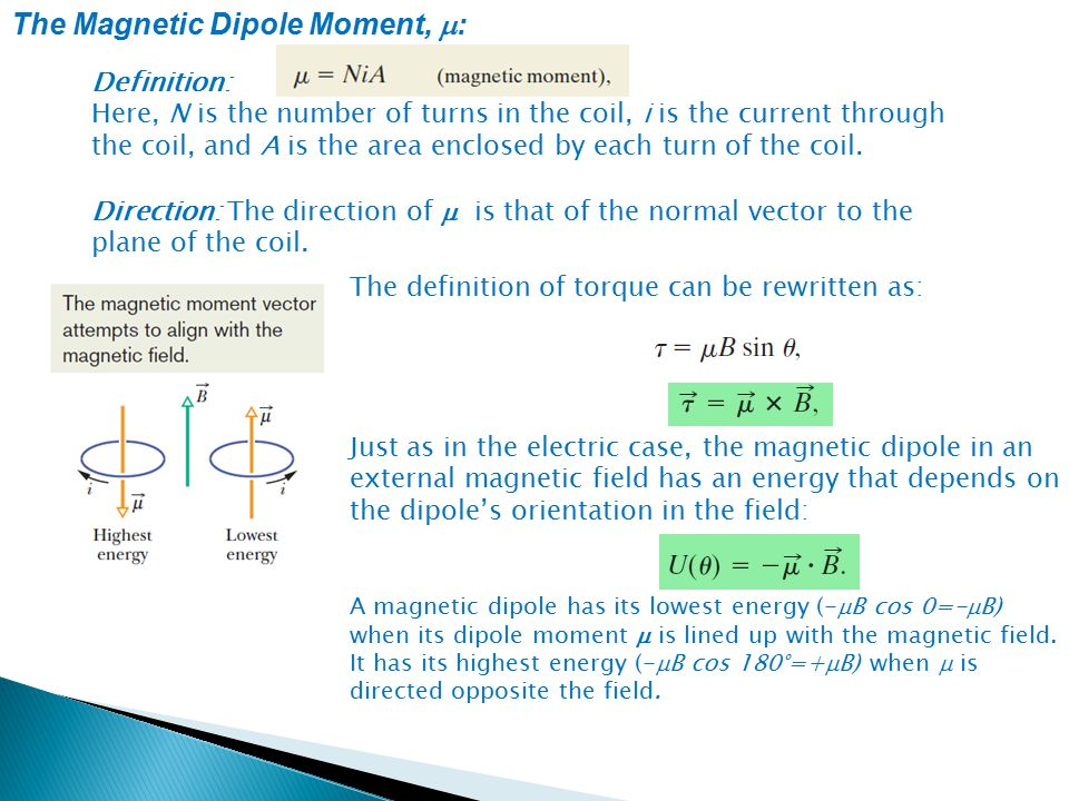 The Magnetic Dipole Moment, m: