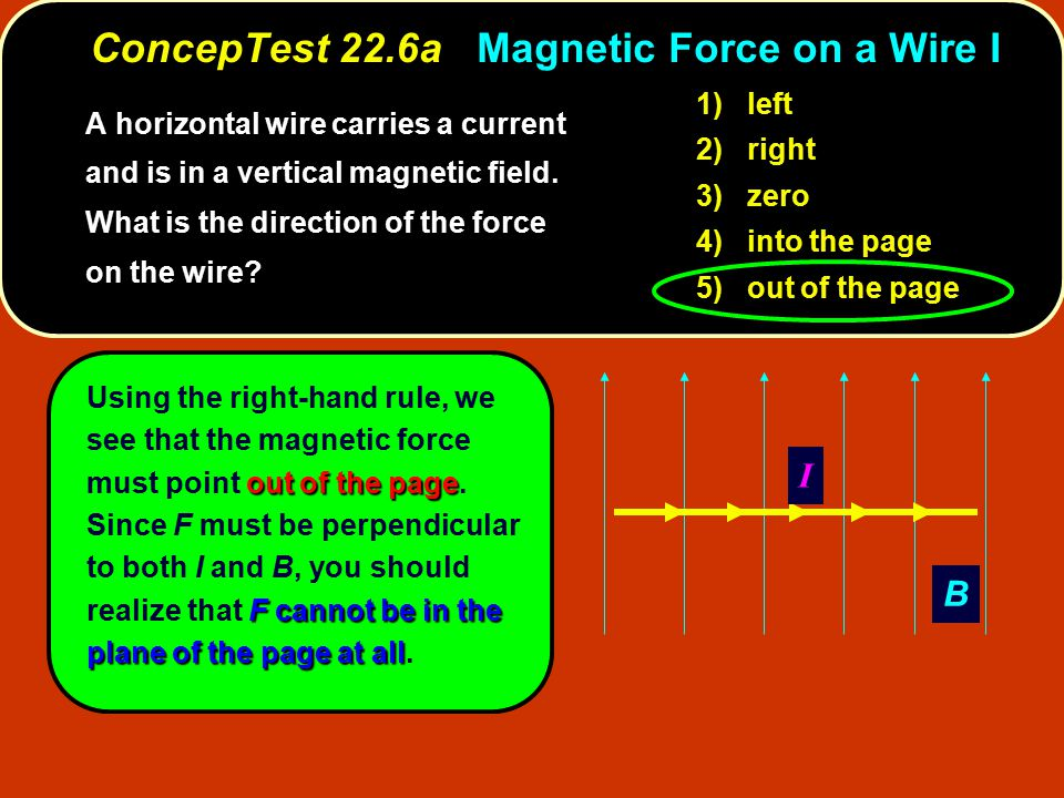ConcepTest 22.6a Magnetic Force on a Wire I