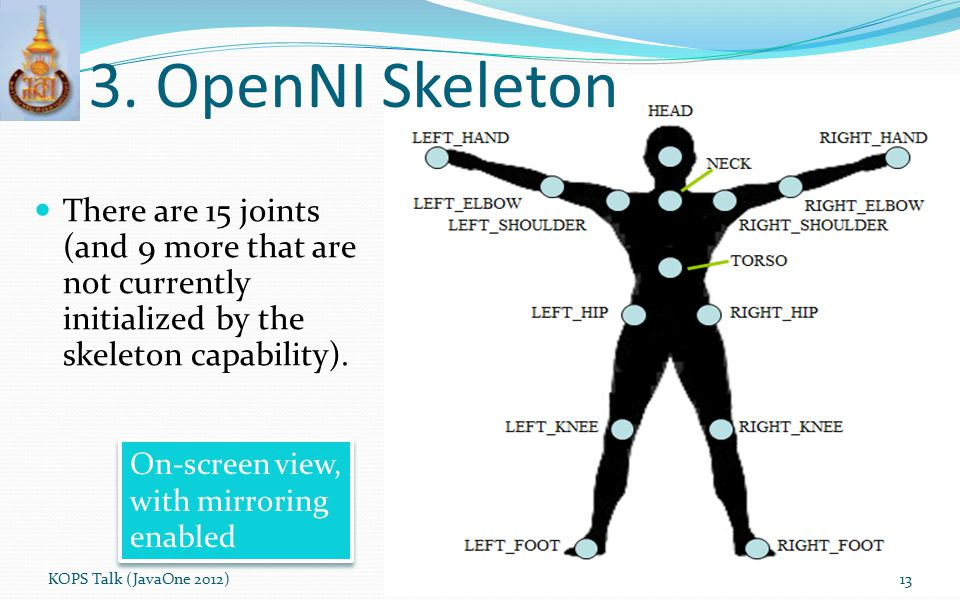 3. OpenNI Skeleton There are 15 joints (and 9 more that are not currently initialized by the skeleton capability).