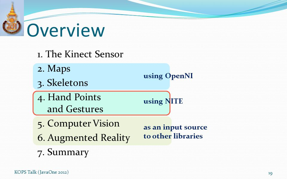 Overview 1. The Kinect Sensor 2. Maps 3. Skeletons 4. Hand Points and Gestures 5. Computer Vision 6. Augmented Reality 7. Summary