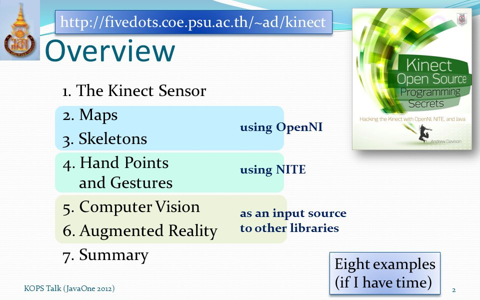 http://fivedots.coe.psu.ac.th/~ad/kinect Overview.