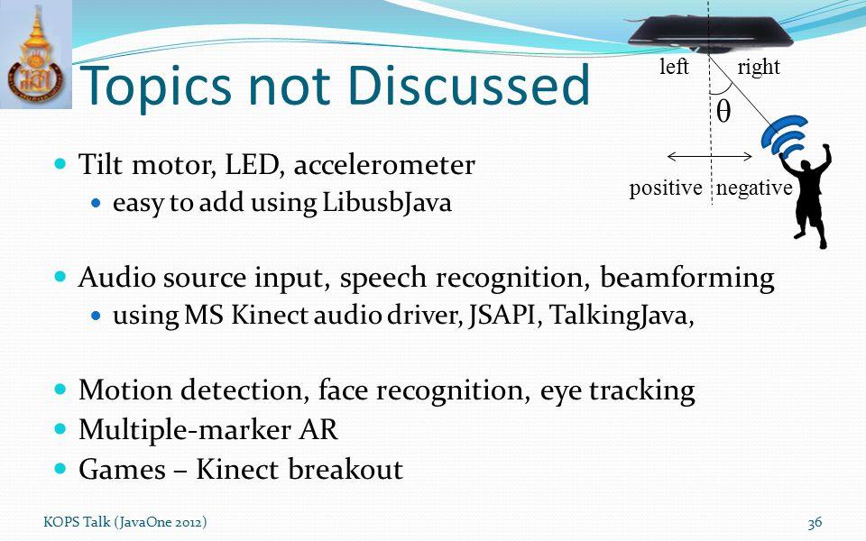 Topics not Discussed θ Tilt motor, LED, accelerometer