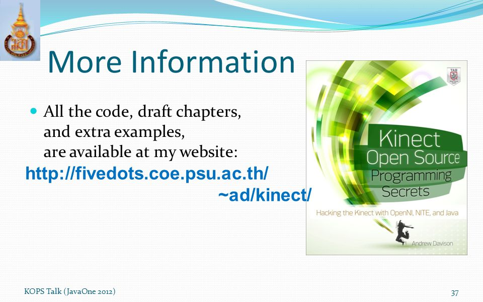 More Information http://fivedots.coe.psu.ac.th/ ~ad/kinect/