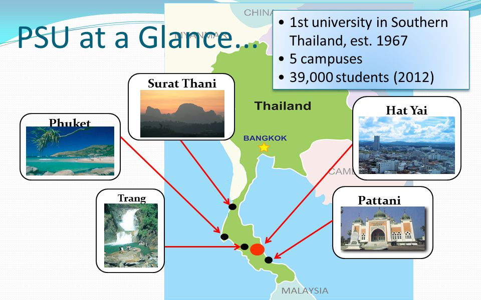 PSU at a Glance... 1st university in Southern Thailand, est. 1967
