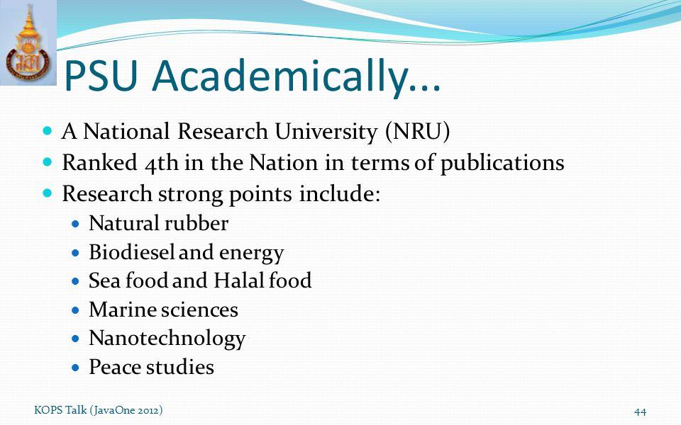 PSU Academically... A National Research University (NRU)