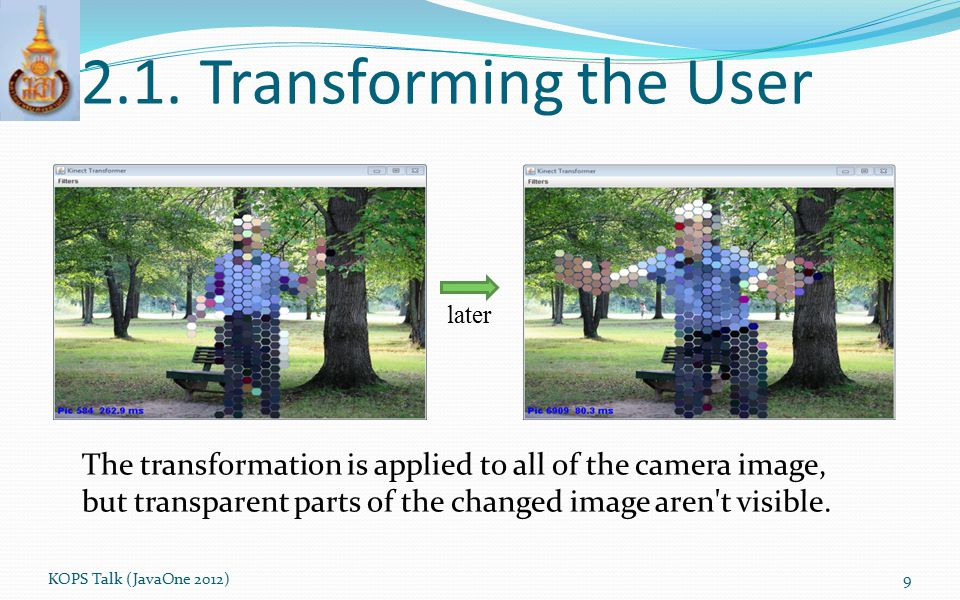 2.1. Transforming the User later. The transformation is applied to all of the camera image,