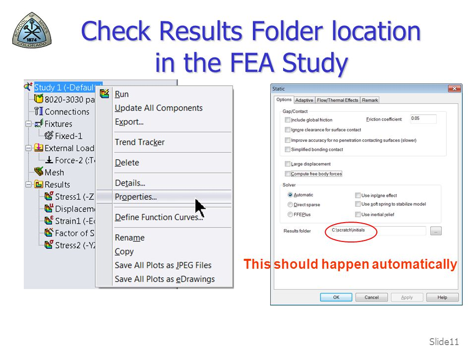 Check Results Folder location in the FEA Study