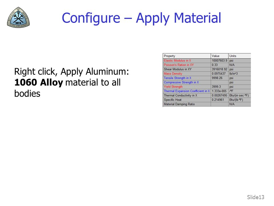 Configure – Apply Material