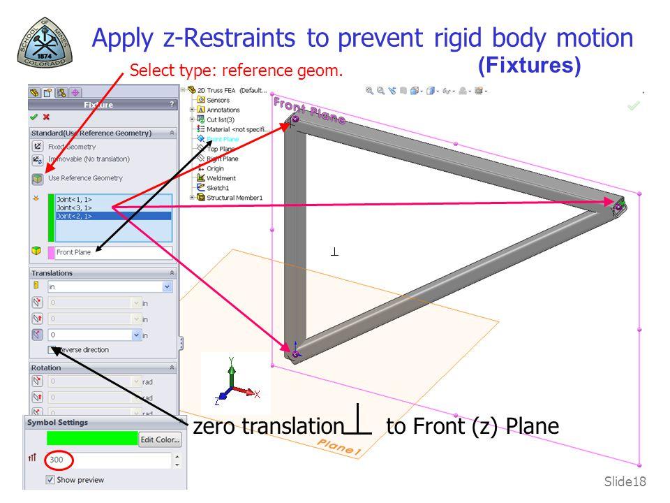 Apply z-Restraints to prevent rigid body motion