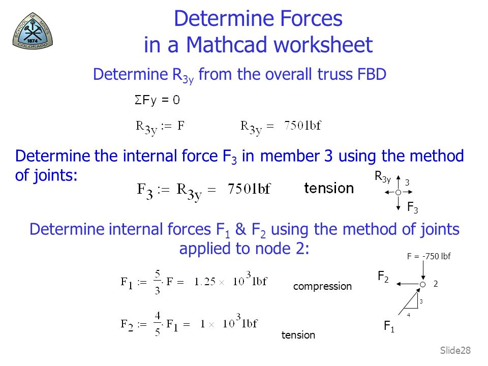 Determine Forces in a Mathcad worksheet