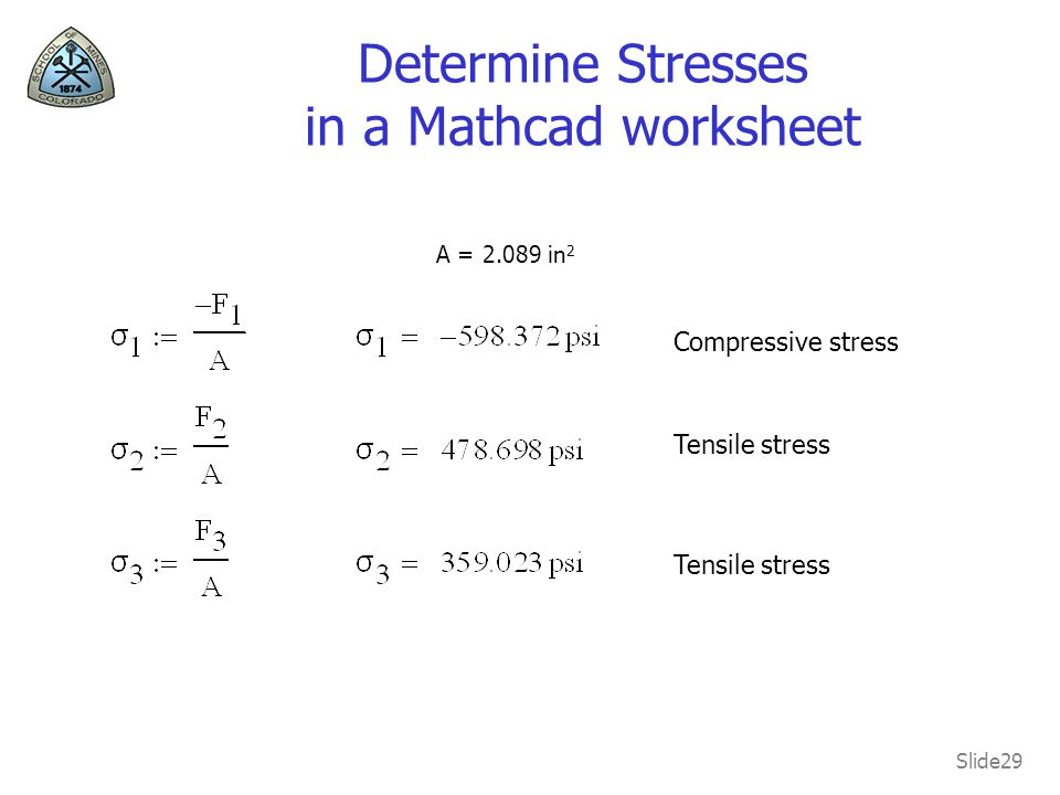 Determine Stresses in a Mathcad worksheet