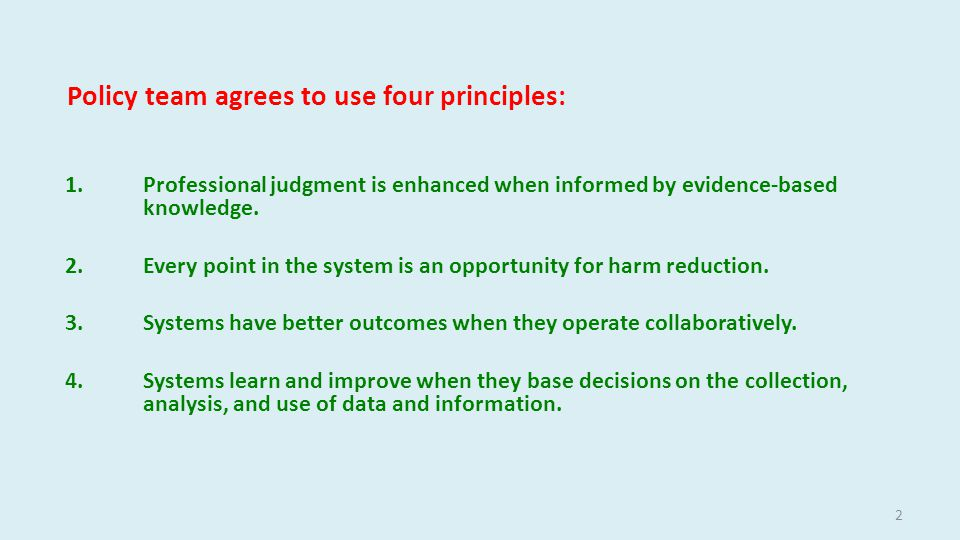 Policy team targets four areas: