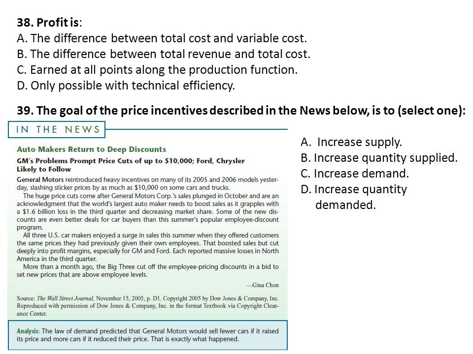 38. Profit is: A. The difference between total cost and variable cost