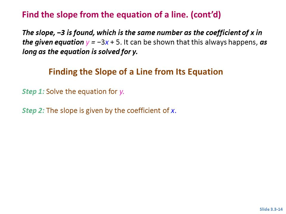 Finding the Slope of a Line from Its Equation