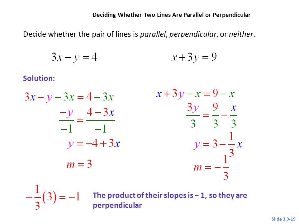 The product of their slopes is − 1, so they are perpendicular