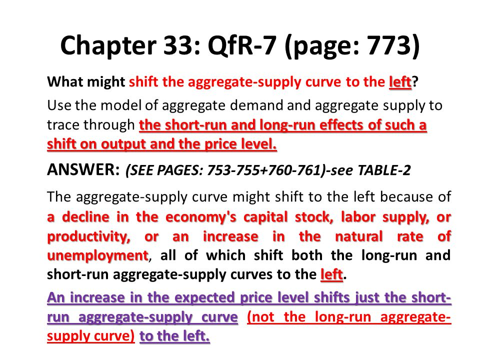 Chapter 33: QfR-7 (page: 773) What might shift the aggregate-supply curve to the left