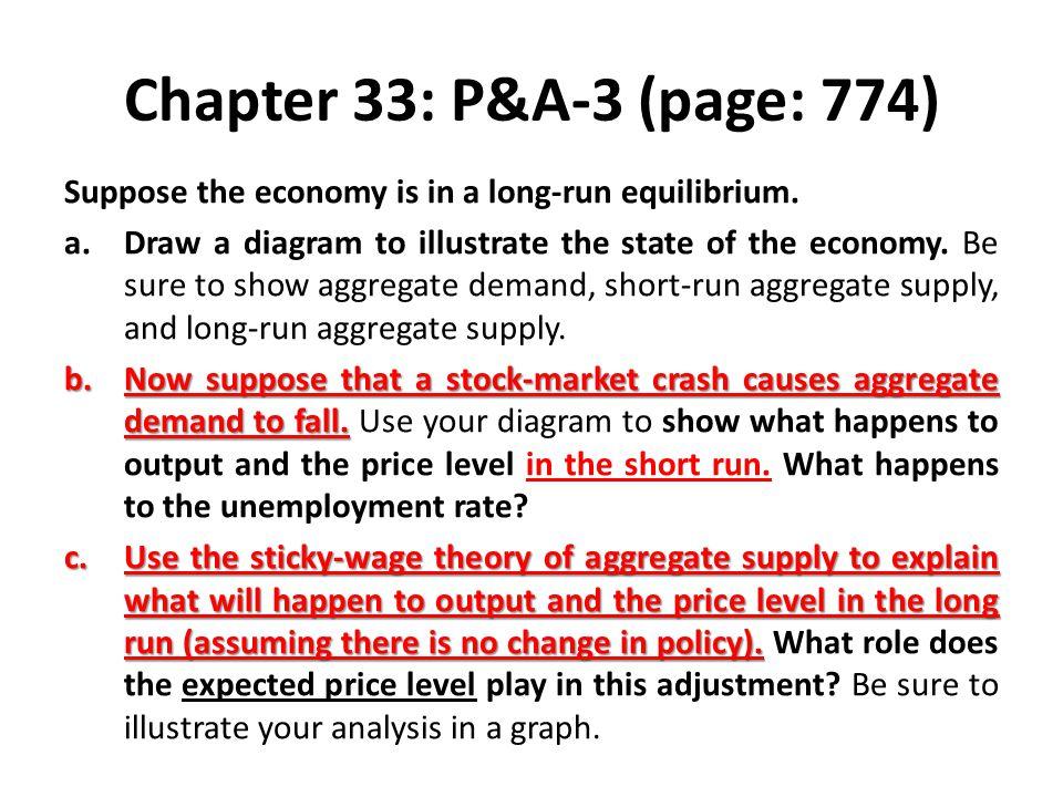 Chapter 33: P&A-3 (page: 774) Suppose the economy is in a long-run equilibrium.