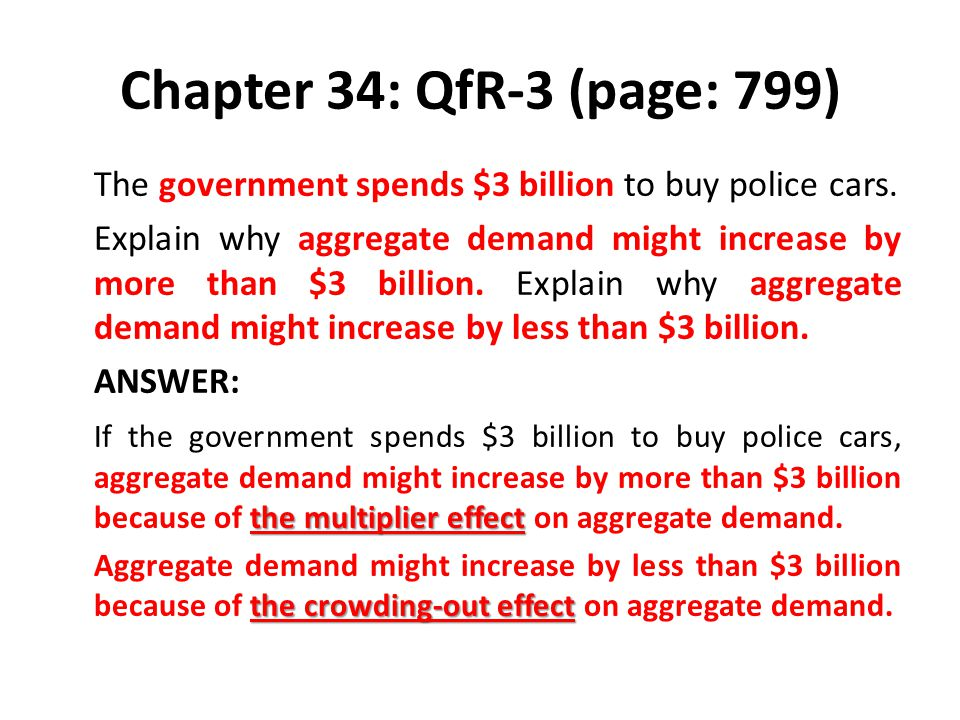 Chapter 34: QfR-3 (page: 799) The government spends $3 billion to buy police cars.