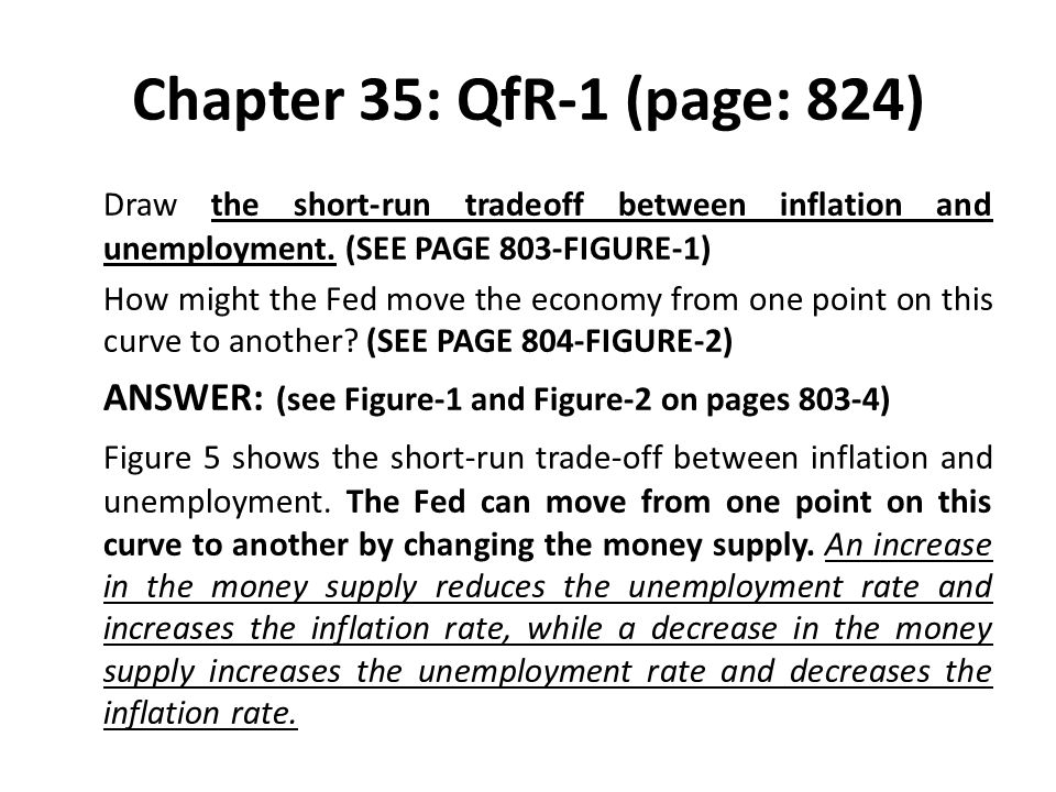 Chapter 35: QfR-1 (page: 824) Draw the short-run tradeoff between inflation and unemployment. (SEE PAGE 803-FIGURE-1)