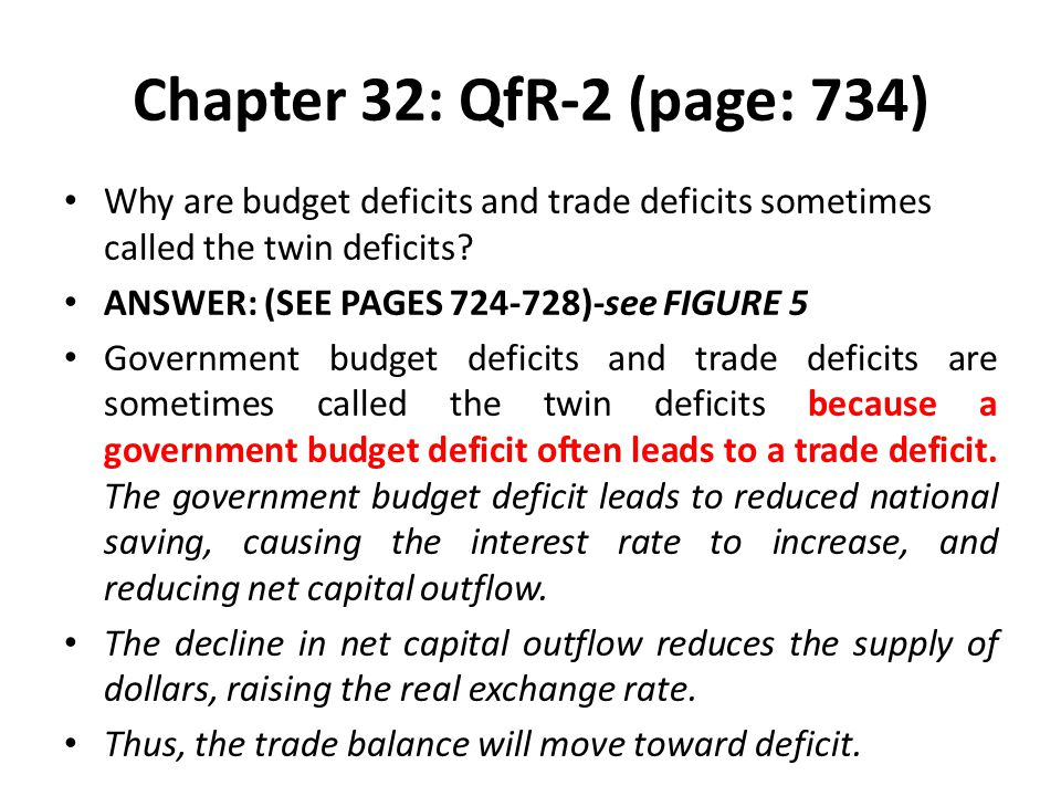 Chapter 32: QfR-2 (page: 734) Why are budget deficits and trade deficits sometimes called the twin deficits
