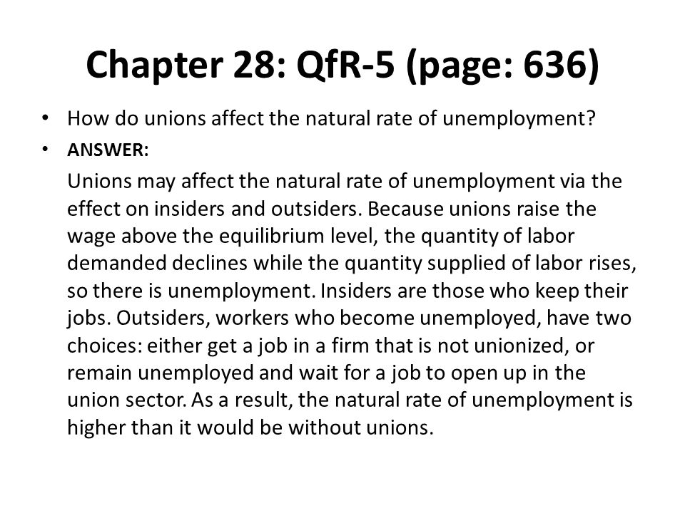 Chapter 28: QfR-5 (page: 636) How do unions affect the natural rate of unemployment ANSWER: