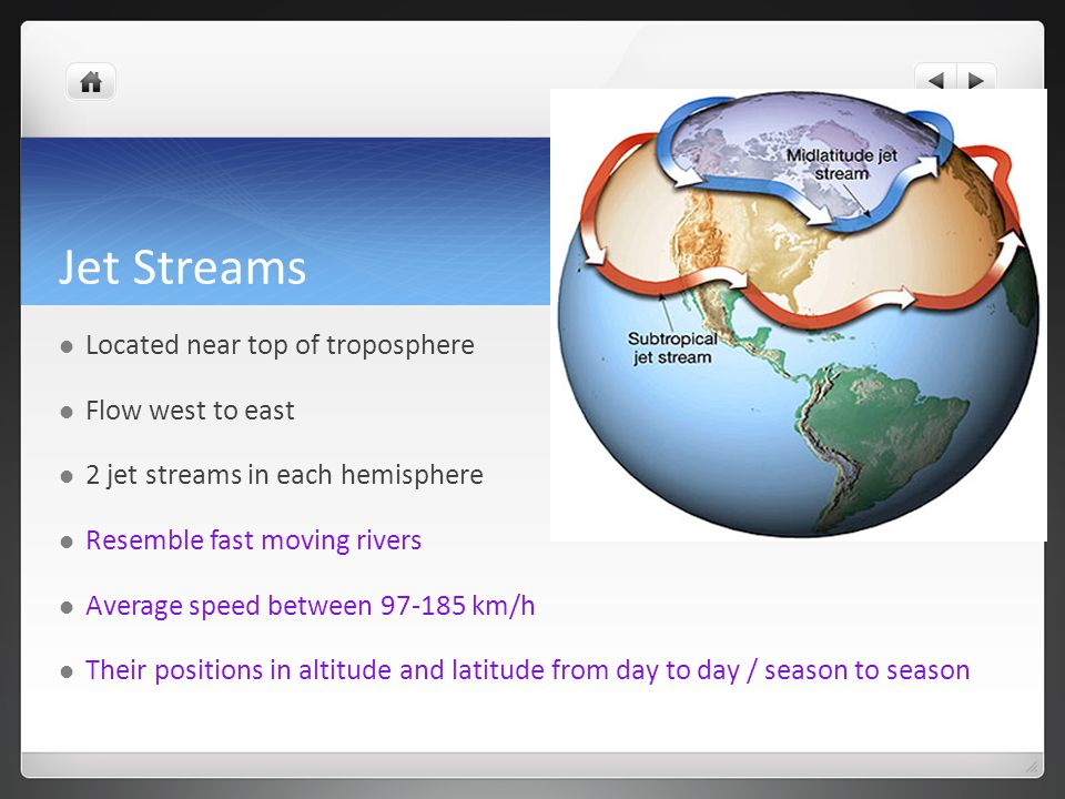 Jet Streams Located near top of troposphere Flow west to east